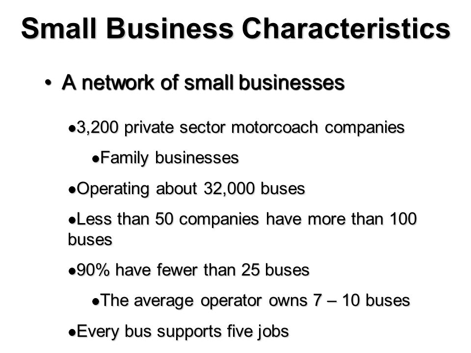 Small Business Characteristics A network of small businessesA network of small businesses 3,200 private sector motorcoach companies 3,200 private sect