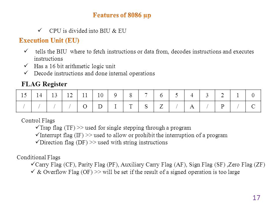 17 tells the BIU where to fetch instructions or data from, decodes instructions and executes instructions Has a 16 bit arithmetic logic unit Decode in