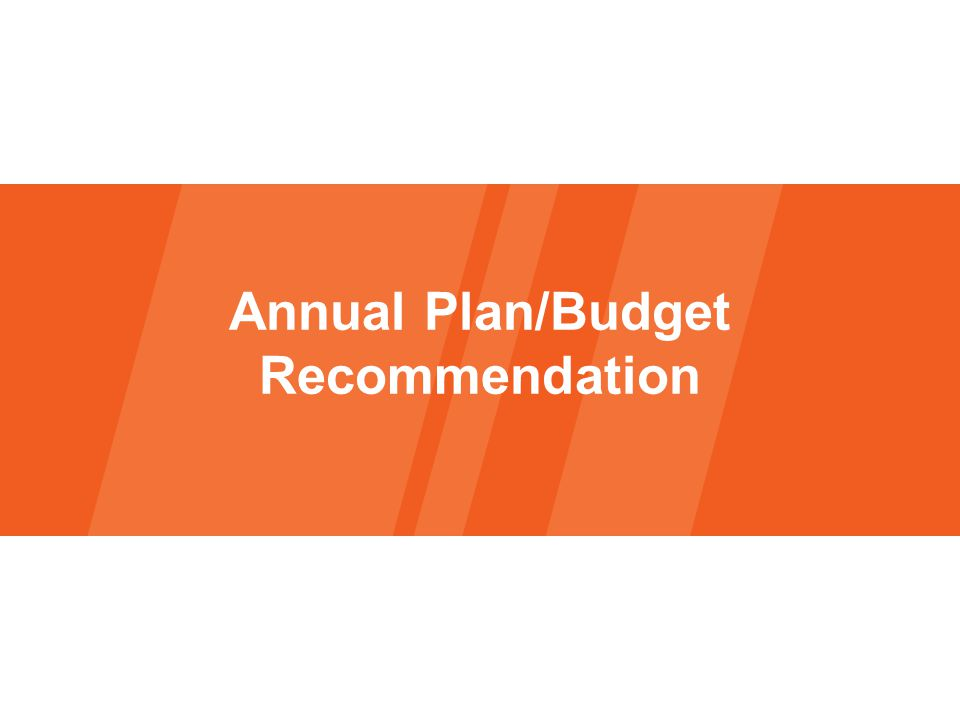 Annual Plan/Budget Recommendation