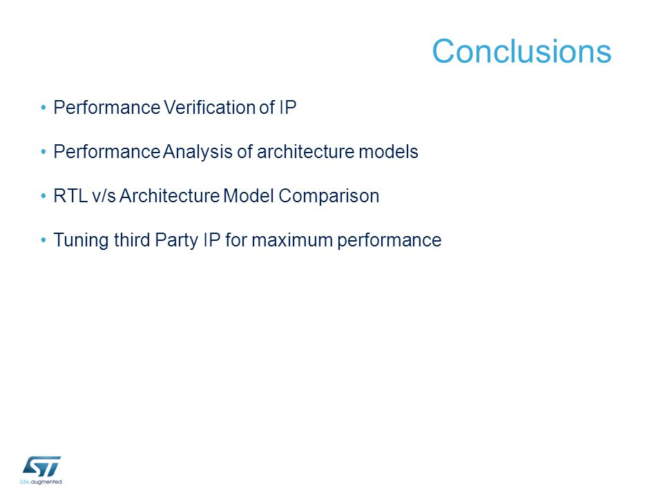 Conclusions Performance Verification of IP Performance Analysis of architecture models RTL v/s Architecture Model Comparison Tuning third Party IP for
