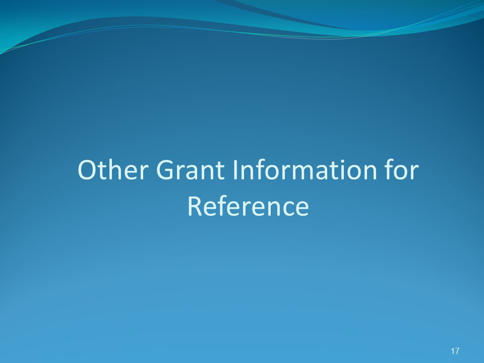 Other Grant Information for Reference 17