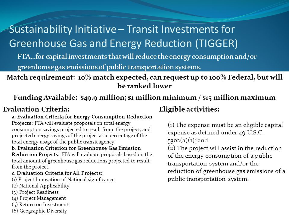 Sustainability Initiative – Transit Investments for Greenhouse Gas and Energy Reduction (TIGGER) FTA…for capital investments that will reduce the ener