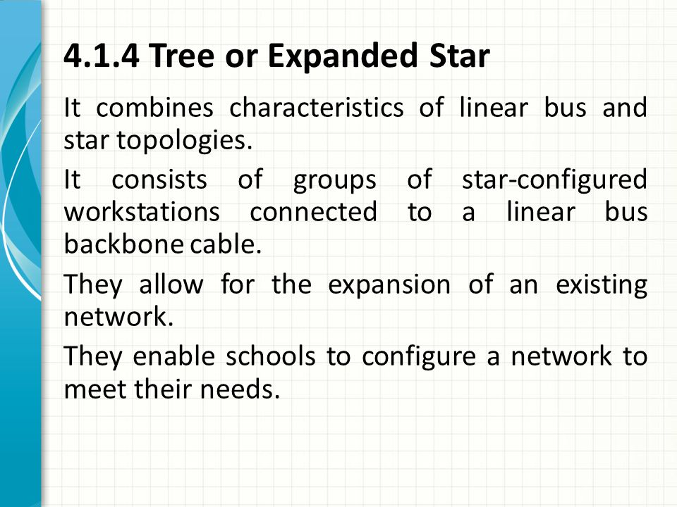 4.1.4 Tree or Expanded Star It combines characteristics of linear bus and star topologies. It consists of groups of star-configured workstations conne