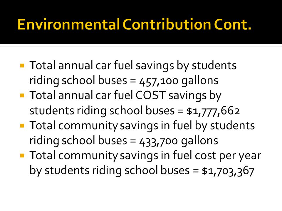 Total annual car fuel savings by students riding school buses = 457,100 gallons Total annual car fuel COST savings by students riding school buses = $1,777,662 Total community savings in fuel by students riding school buses = 433,700 gallons Total community savings in fuel cost per year by students riding school buses = $1,703,367