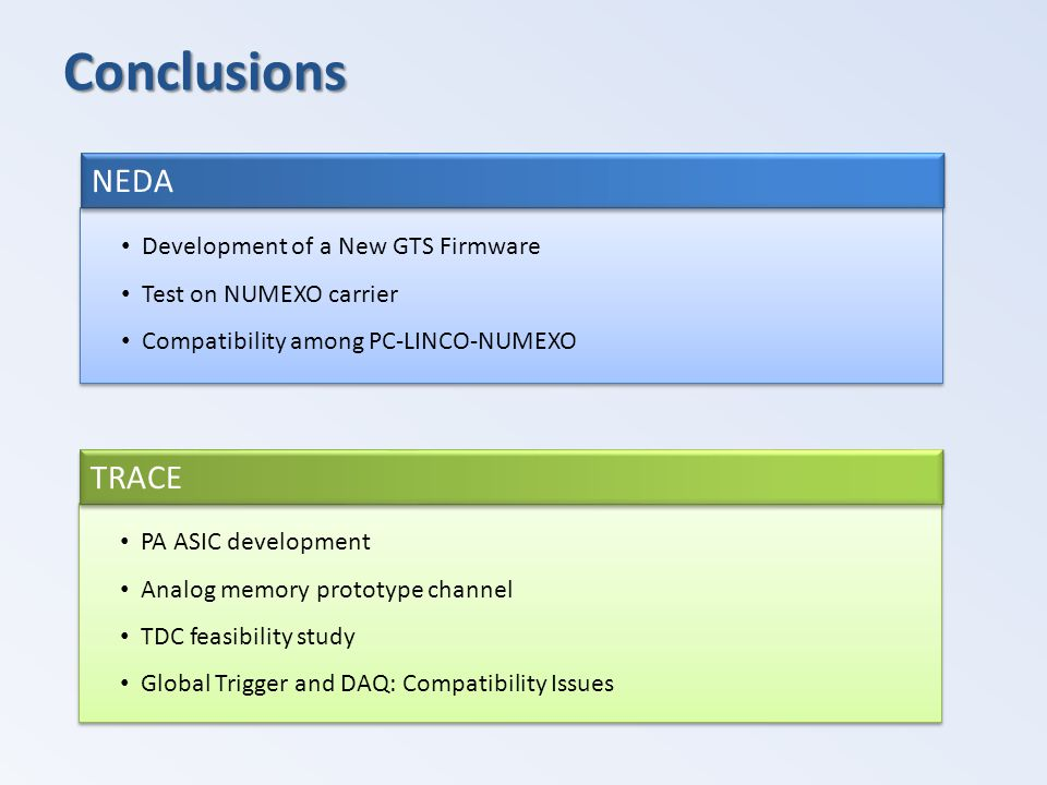 Conclusions PA ASIC development Analog memory prototype channel TDC feasibility study Global Trigger and DAQ: Compatibility Issues PA ASIC development Analog memory prototype channel TDC feasibility study Global Trigger and DAQ: Compatibility Issues TRACE Development of a New GTS Firmware Test on NUMEXO carrier Compatibility among PC-LINCO-NUMEXO Development of a New GTS Firmware Test on NUMEXO carrier Compatibility among PC-LINCO-NUMEXO NEDA