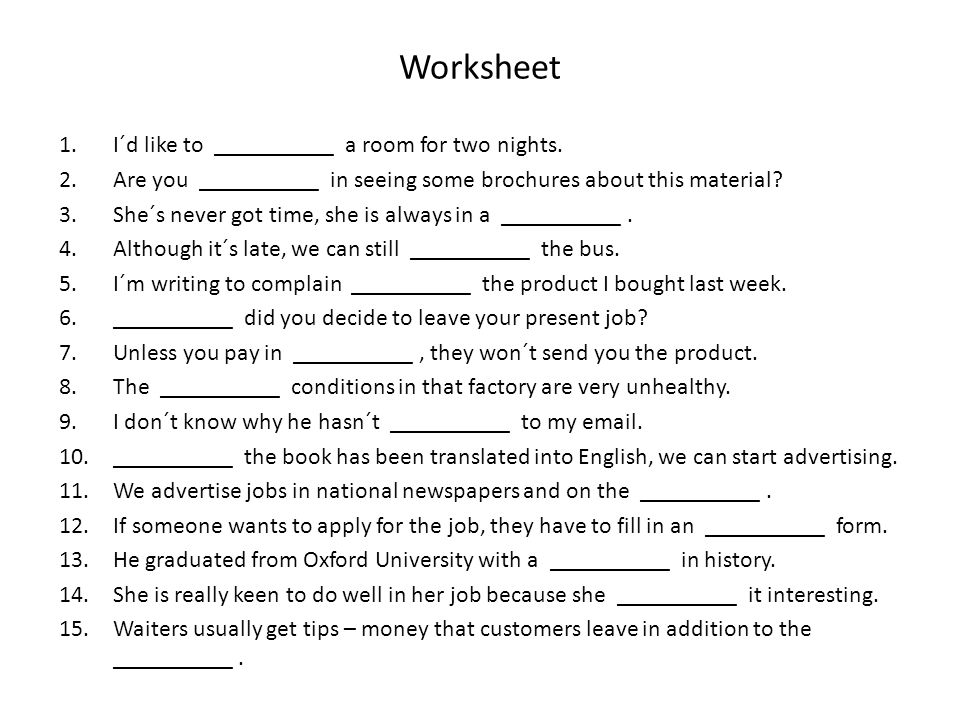 Worksheet 1.I´d like to __________ a room for two nights.