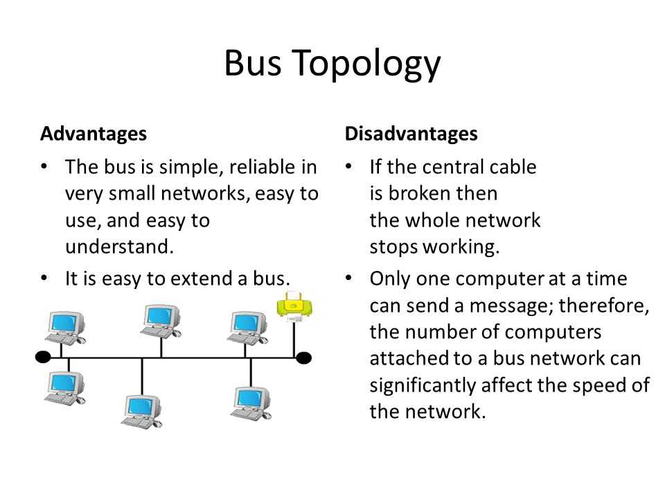 Bus Topology Advantages The bus is simple, reliable in very small networks, easy to use, and easy to understand. It is easy to extend a bus. Disadvant