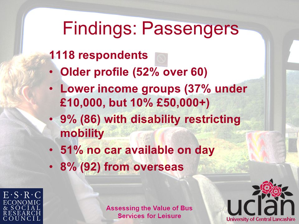 18 Assessing the Value of Bus Services for Leisure Findings: Passengers 1118 respondents Older profile (52% over 60) Lower income groups (37% under £10,000, but 10% £50,000+) 9% (86) with disability restricting mobility 51% no car available on day 8% (92) from overseas