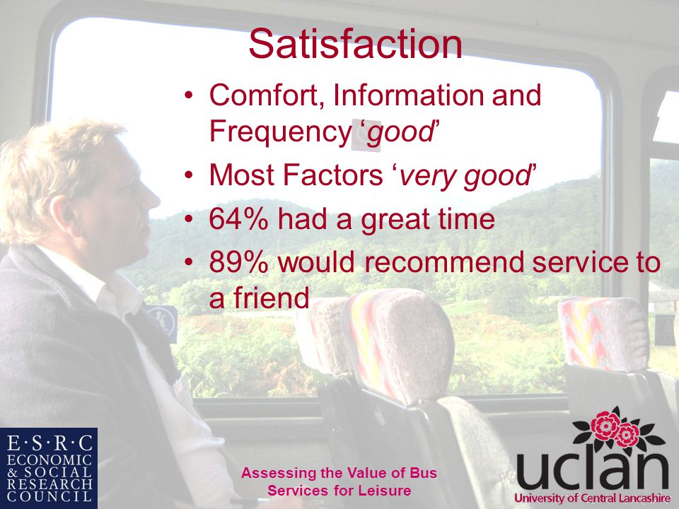 36 Assessing the Value of Bus Services for Leisure Satisfaction Comfort, Information and Frequency good Most Factors very good 64% had a great time 89% would recommend service to a friend