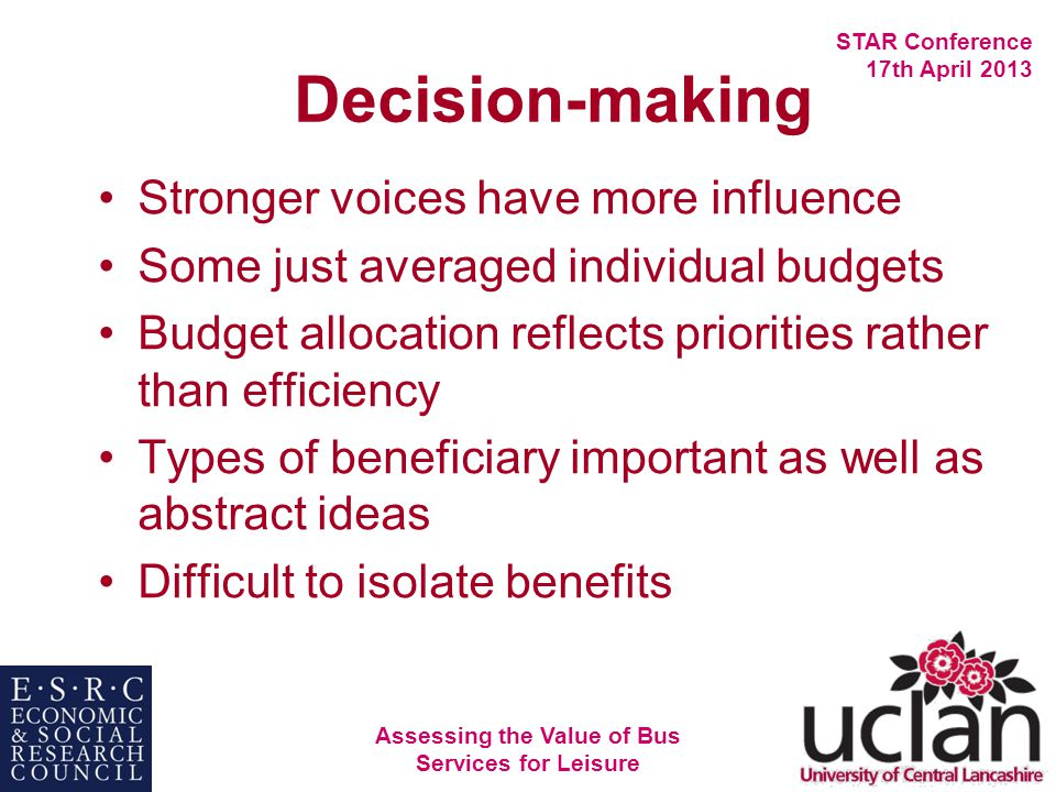 Assessing the Value of Bus Services for Leisure STAR Conference 17th April 2013 Decision-making Stronger voices have more influence Some just averaged