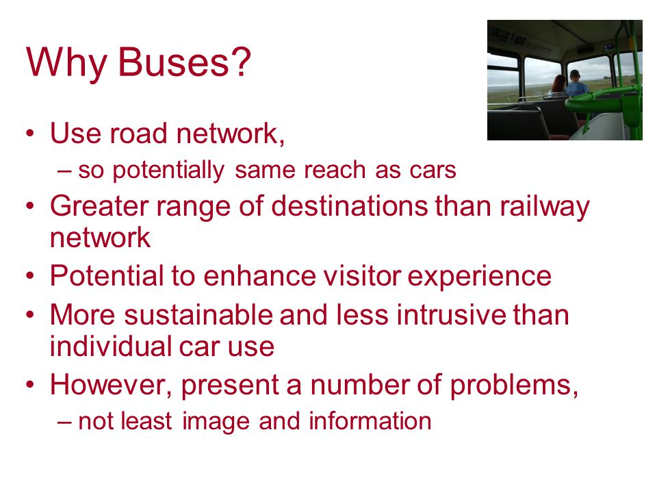 7 Assessing the Value of Bus Services for Leisure HISTORY OF THE PROJECT