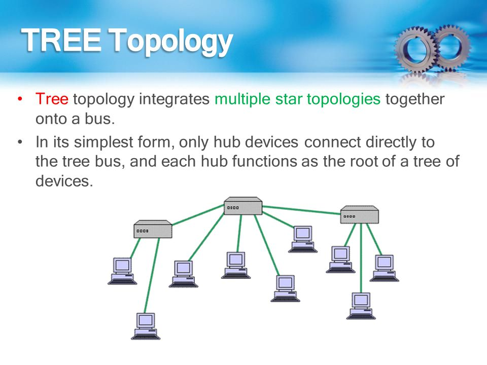 Tree topology integrates multiple star topologies together onto a bus. In its simplest form, only hub devices connect directly to the tree bus, and ea