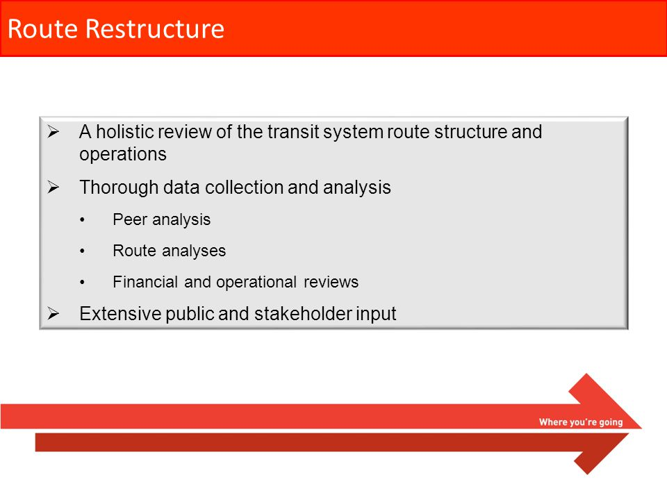 Route Restructure A holistic review of the transit system route structure and operations Thorough data collection and analysis Peer analysis Route ana