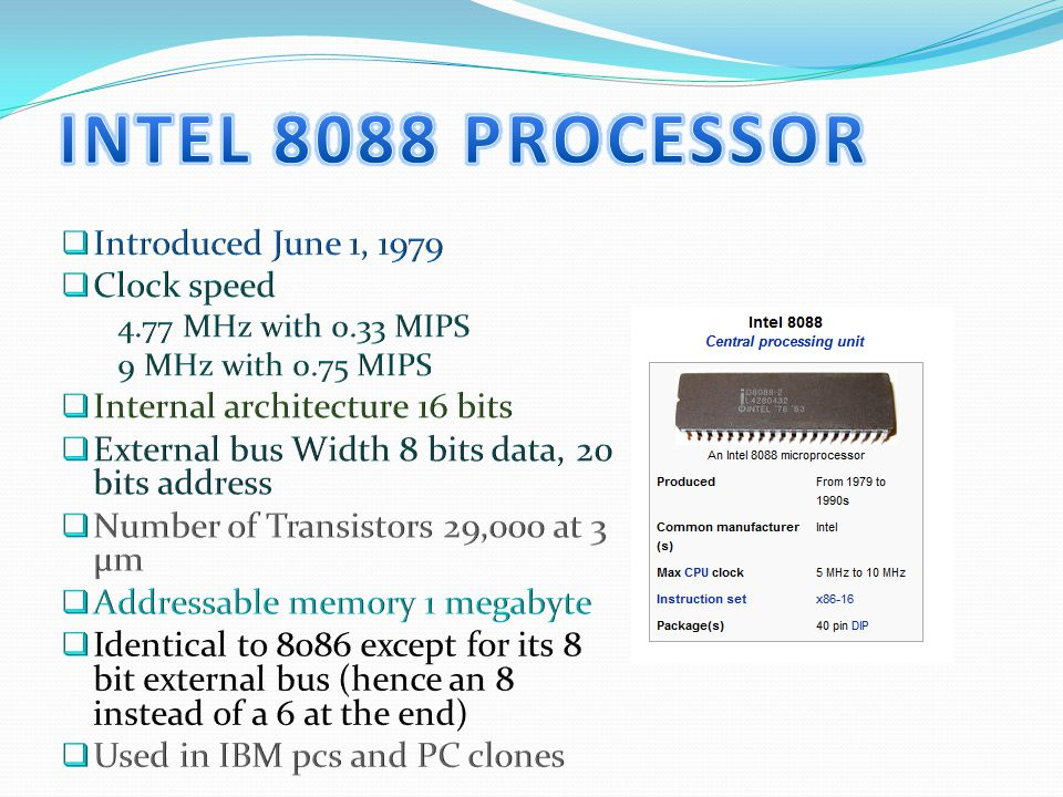 0.18 µm process technology (1.40 and 1.50 GHz) Introduced November 20, 2000 L2 cache was 256 KB Advanced Transfer Cache (Integrated) Processor Package Style was PGA423, PGA478 System Bus Speed 400 MHz SSE2,SIMD Extensions Number of Transistors 42 million Used in desktops and entry-level workstations 0.18 µm process technology (1.7 GHz) Introduced April 23, 2001 See the 1.4 and 1.5 chips for details 0.18 µm process technology (1.6 and 1.8 GHz) Introduced July2, 2001 See 1.4 and 1.5 chips for details Core Voltage is 1.15 volts in Maximum Performance Mode; 1.05 volts in Battery Optimized Mode Power <1 watt in Battery Optimized Mode Used in full-size and then light mobile PCs 0.18 µm process technology Willamette (1.9 and 2.0 GHz) Introduced August 27, 2001 See 1.4 and 1.5 chips for details Family 15 model 1 Pentium 4 (2 GHz, 2.20 GHz) Introduced January 7, 2002 Pentium 4 (2.4 GHz) Introduced April 2, 2002