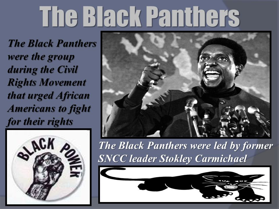 The Black Panthers The Black Panthers were the group during the Civil Rights Movement that urged African Americans to fight for their rights The Black