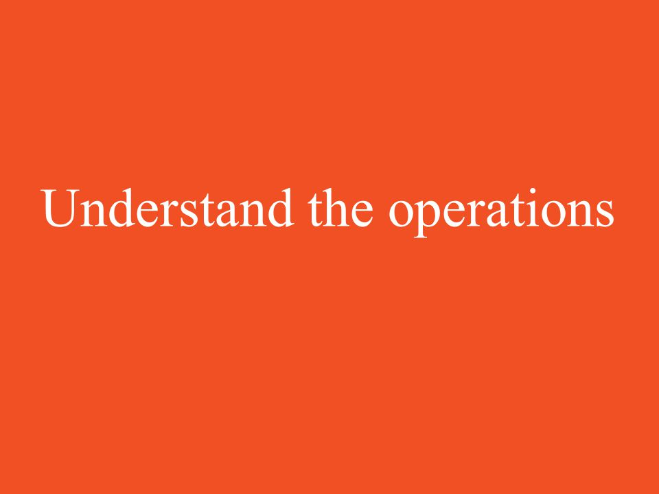Understand the operations