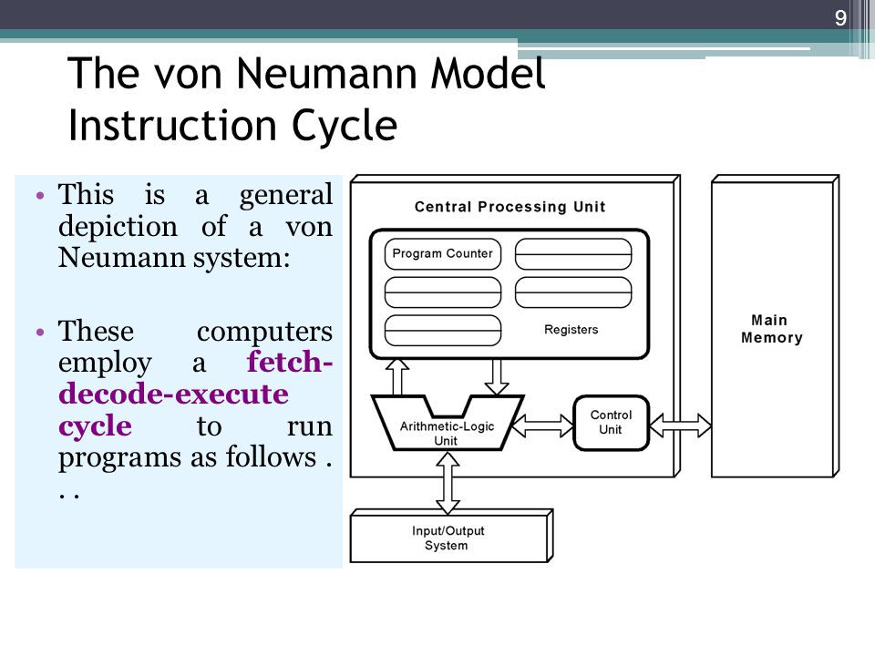 9 The von Neumann Model Instruction Cycle This is a general depiction of a von Neumann system: These computers employ a fetch- decode-execute cycle to