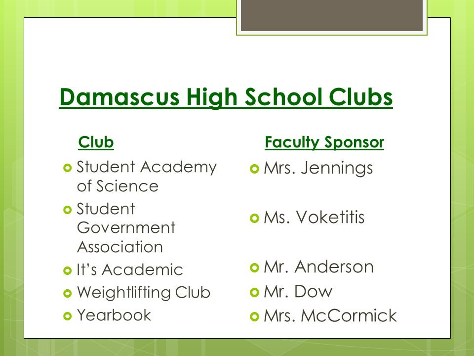 Damascus High School Clubs Club Student Academy of Science Student Government Association Its Academic Weightlifting Club Yearbook Faculty Sponsor Mrs