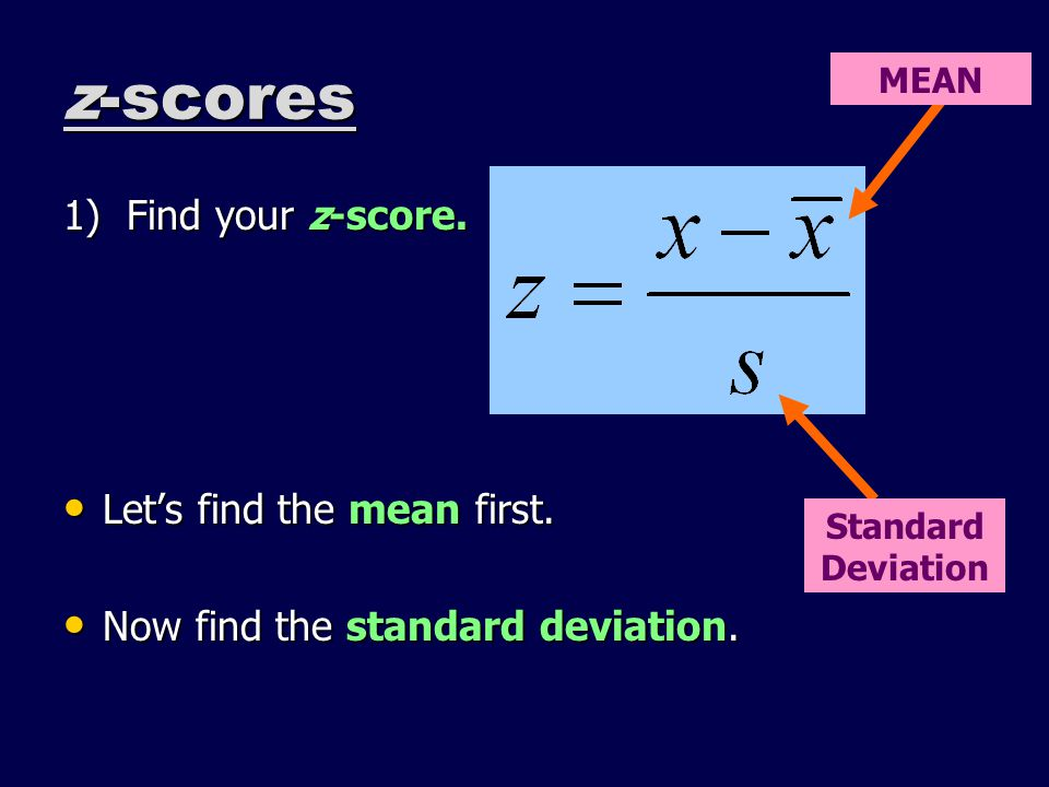 z-scores 1) Find your z-score. Lets find the mean first.