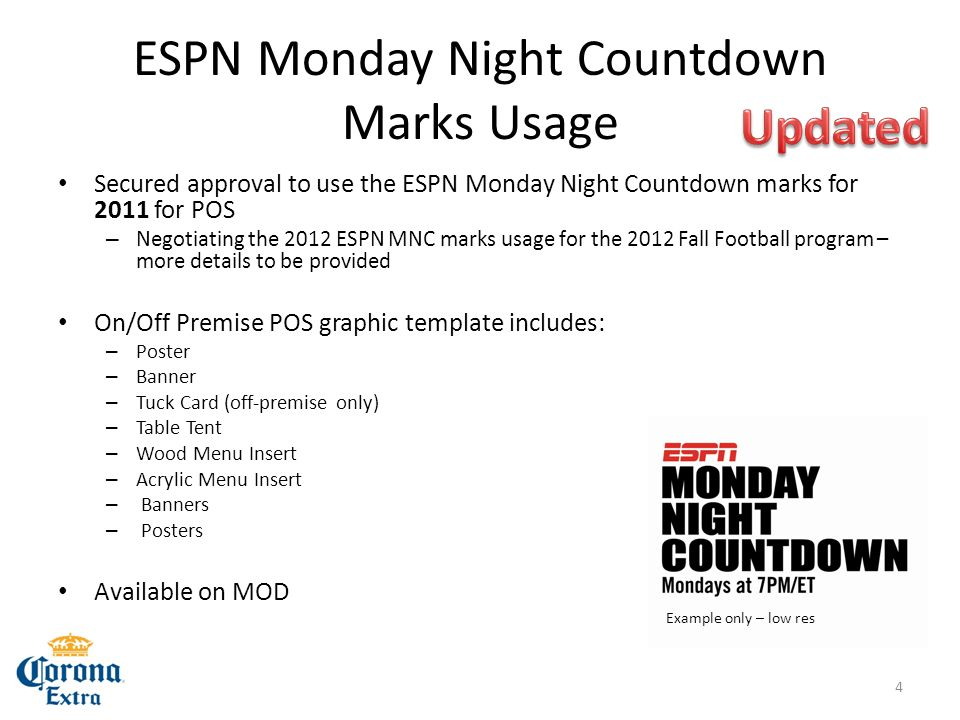 ESPN Monday Night Countdown Marks Usage Secured approval to use the ESPN Monday Night Countdown marks for 2011 for POS – Negotiating the 2012 ESPN MNC marks usage for the 2012 Fall Football program – more details to be provided On/Off Premise POS graphic template includes: – Poster – Banner – Tuck Card (off-premise only) – Table Tent – Wood Menu Insert – Acrylic Menu Insert – Banners – Posters Available on MOD Example only – low res 4