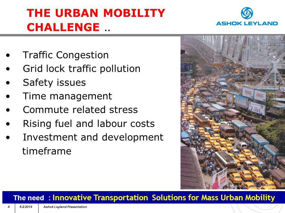 46/2/2014Ashok Leyland Presentation THE URBAN MOBILITY CHALLENGE..