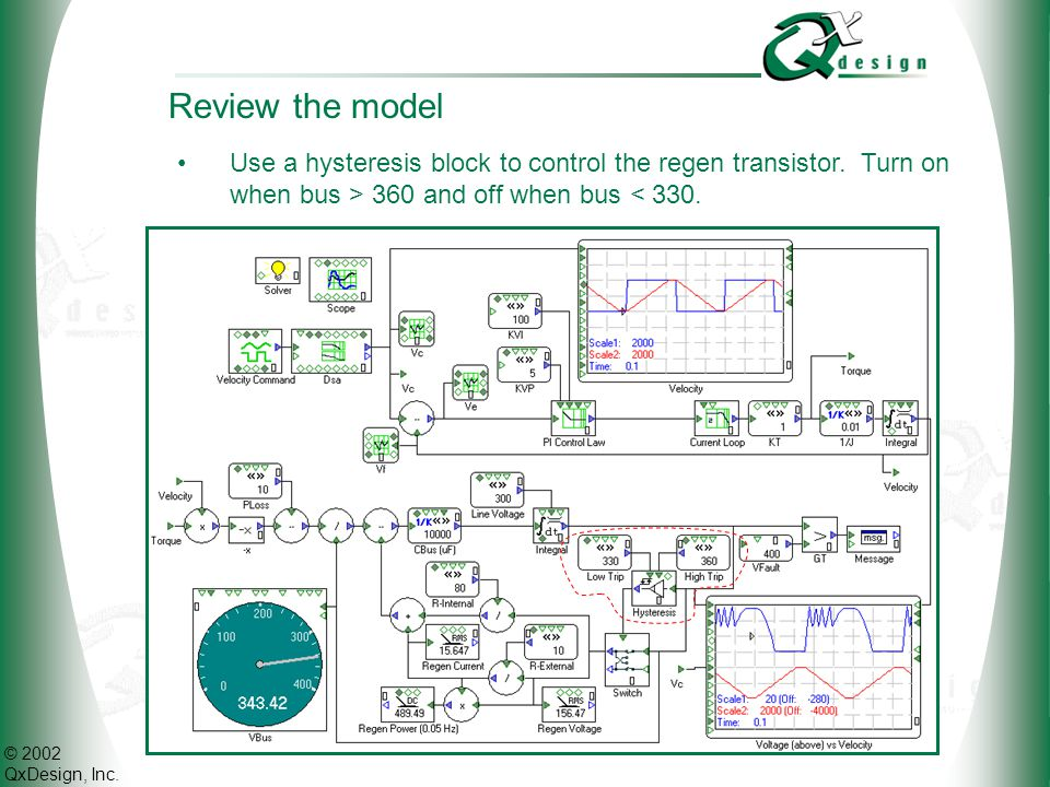 © 2002 QxDesign, Inc. Review the model Use a hysteresis block to control the regen transistor. Turn on when bus > 360 and off when bus < 330.