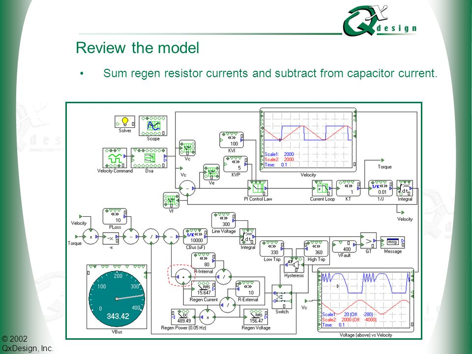 © 2002 QxDesign, Inc. Review the model Sum regen resistor currents and subtract from capacitor current.