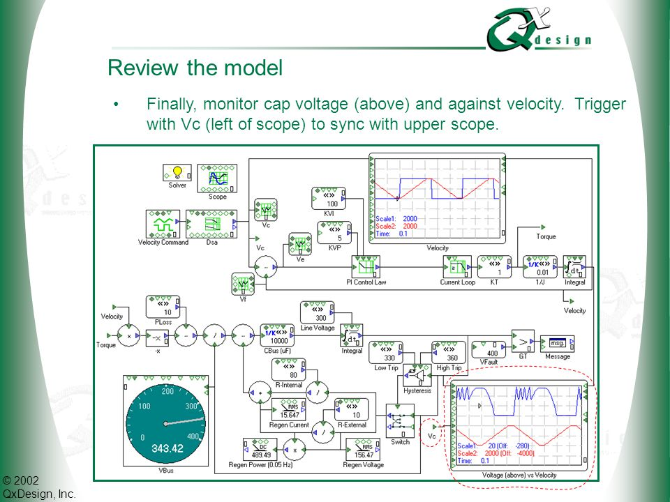 © 2002 QxDesign, Inc. Review the model Finally, monitor cap voltage (above) and against velocity. Trigger with Vc (left of scope) to sync with upper s