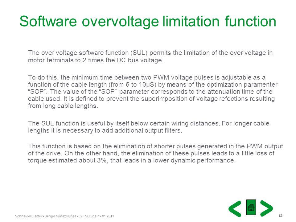 Schneider Electric 12 - Sergio Núñez Núñez - L2 TSC Spain - 01.2011 Software overvoltage limitation function The over voltage software function (SUL)