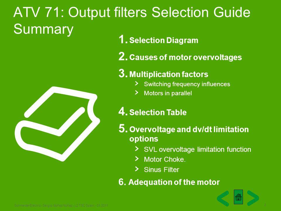 Schneider Electric 2 - Sergio Núñez Núñez - L2 TSC Spain - 01.2011 ATV 71: Output filters Selection Guide Summary 1. Selection Diagram 2. Causes of mo