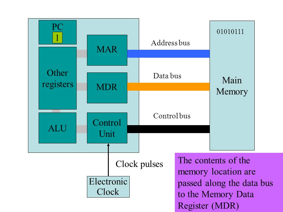 Main Memory MAR MDR Control Unit ALU Other registers Electronic Clock Clock pulses Address bus Data bus Control bus PC 1 The contents of the memory location are passed along the data bus to the Memory Data Register (MDR) 01010111