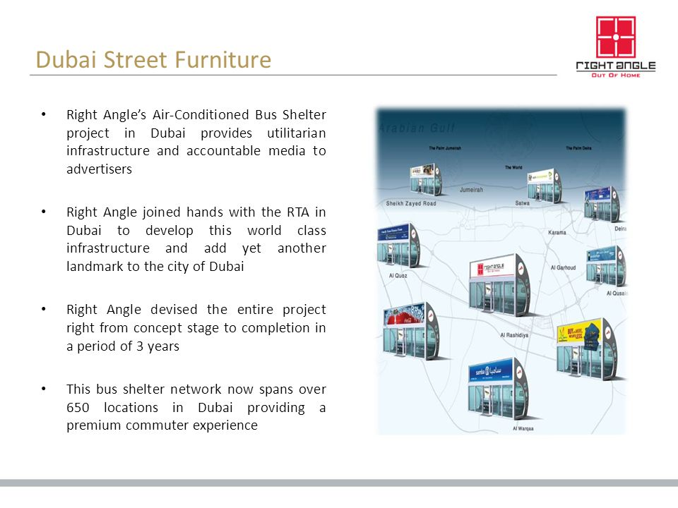 Dubai Street Furniture Right Angles Air-Conditioned Bus Shelter project in Dubai provides utilitarian infrastructure and accountable media to advertis