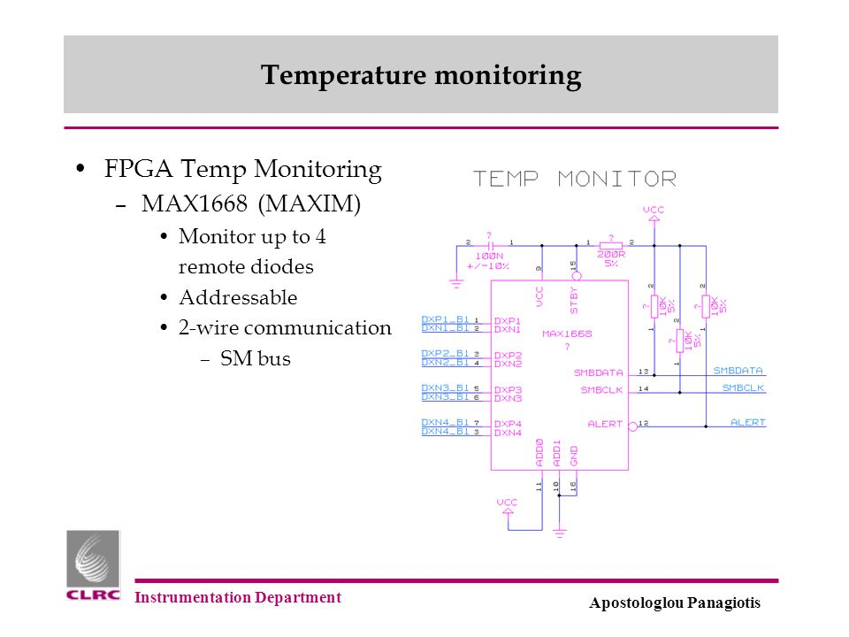 Instrumentation Department Apostologlou Panagiotis Temperature monitoring FPGA Temp Monitoring –MAX1668 (MAXIM) Monitor up to 4 remote diodes Addressa
