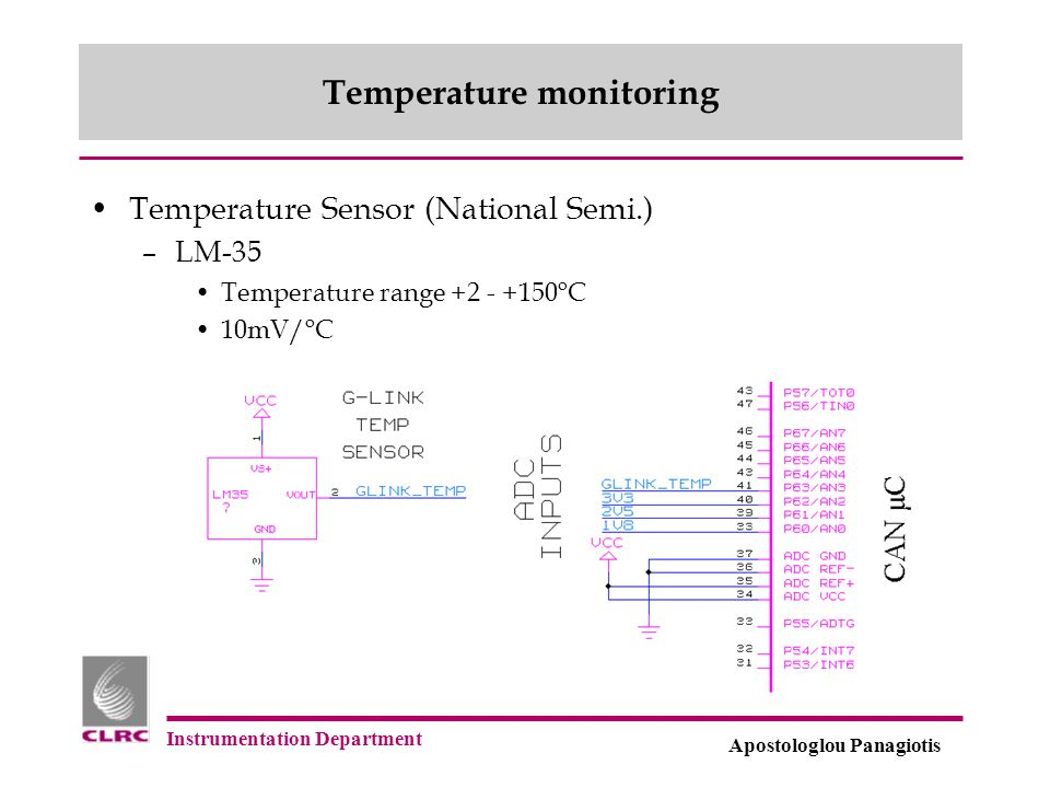 Instrumentation Department Apostologlou Panagiotis Temperature monitoring Temperature Sensor (National Semi.) –LM-35 Temperature range +2 - +150 o C 1