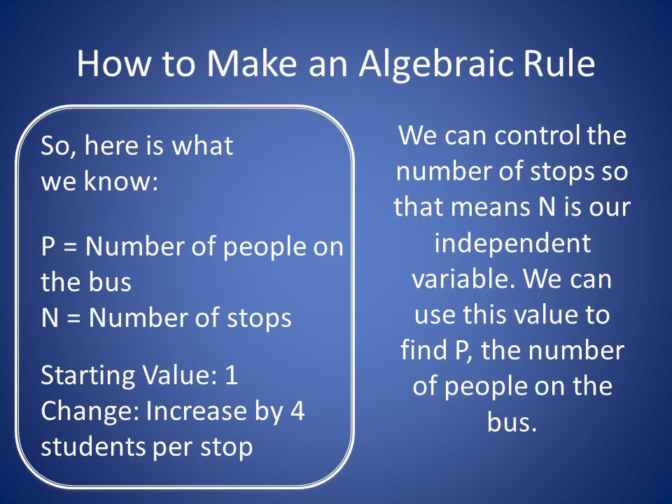 How to Make an Algebraic Rule So, here is what we know: P = Number of people on the bus N = Number of stops Starting Value: 1 Change: Increase by 4 students per stop We can control the number of stops so that means N is our independent variable.