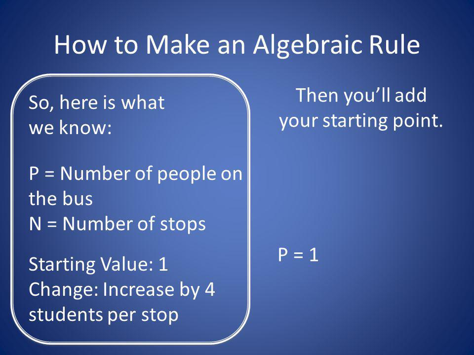How to Make an Algebraic Rule So, here is what we know: P = Number of people on the bus N = Number of stops Starting Value: 1 Change: Increase by 4 students per stop Then youll add your starting point.