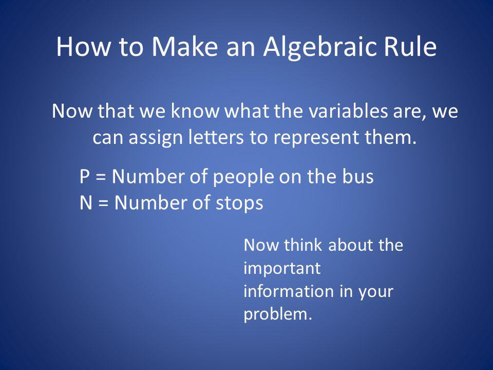 How to Make an Algebraic Rule Now that we know what the variables are, we can assign letters to represent them.