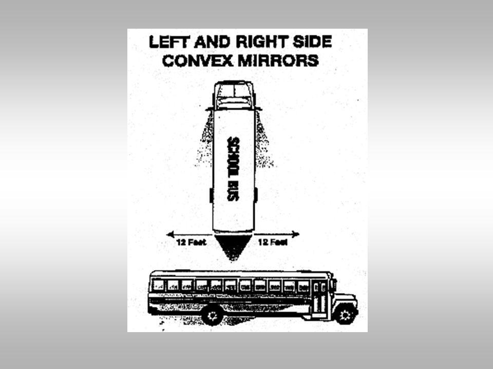 Convex mirrors are mainly for student detection, but you should also see: 1.½ of the bus should be seen on the inside edge of each of the convex mirro