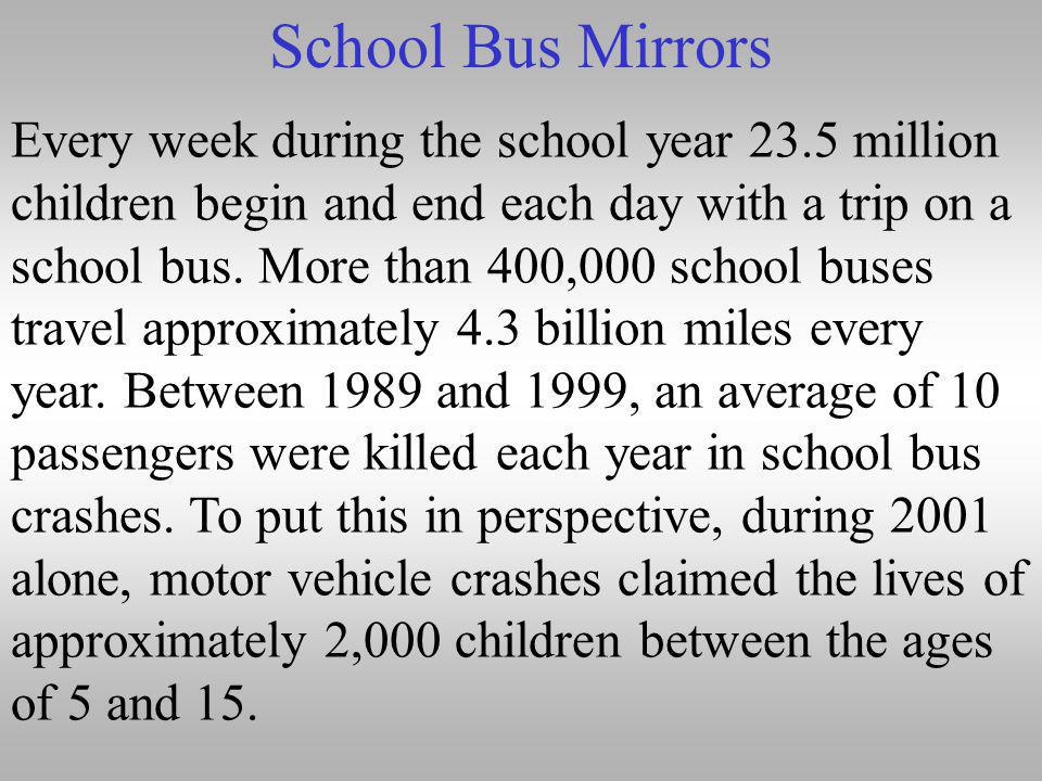 School Bus Mirrors Every week during the school year 23.5 million children begin and end each day with a trip on a school bus.