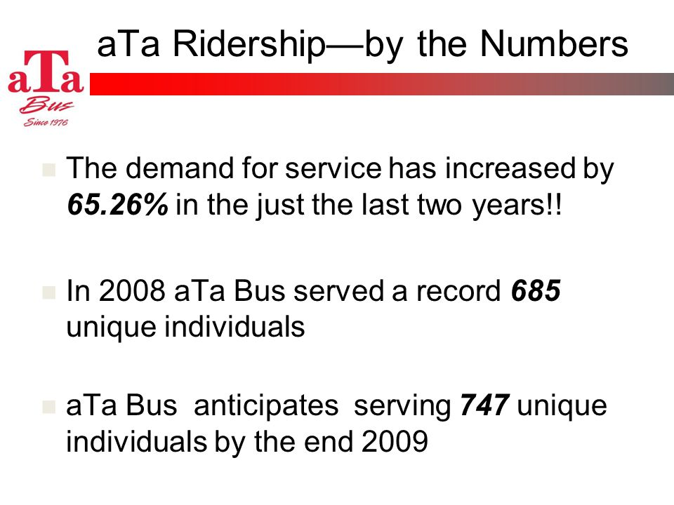 aTa Ridershipby the Numbers The demand for service has increased by 65.26% in the just the last two years!! In 2008 aTa Bus served a record 685 unique