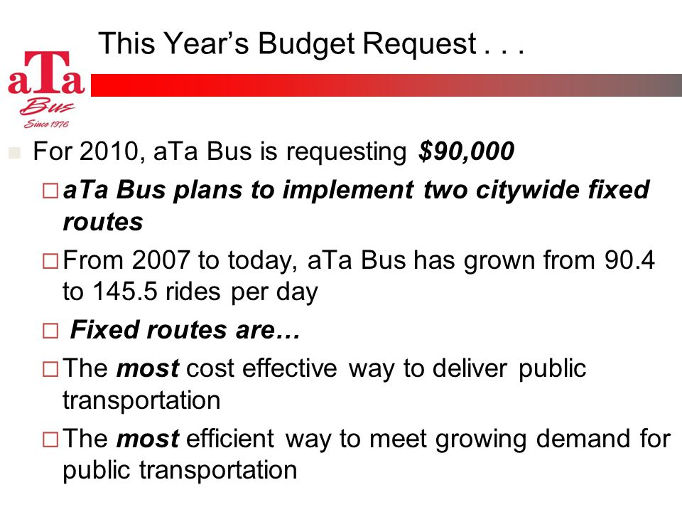 This Years Budget Request... For 2010, aTa Bus is requesting $90,000 aTa Bus plans to implement two citywide fixed routes From 2007 to today, aTa Bus