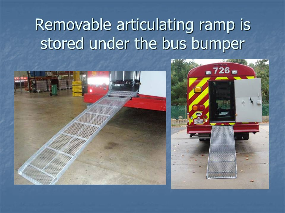 Removable articulating ramp is stored under the bus bumper
