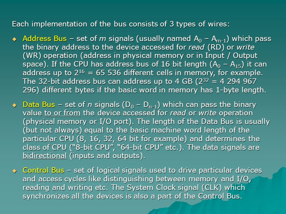 Zilog Z-80 CPU (modification of Intel 8080) – example of CPUs System Bus.