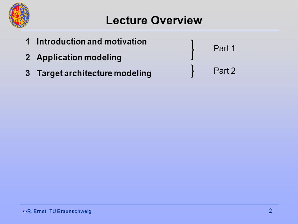 R. Ernst, TU Braunschweig 2 Lecture Overview 1Introduction and motivation 2Application modeling 3Target architecture modeling Part 1 Part 2