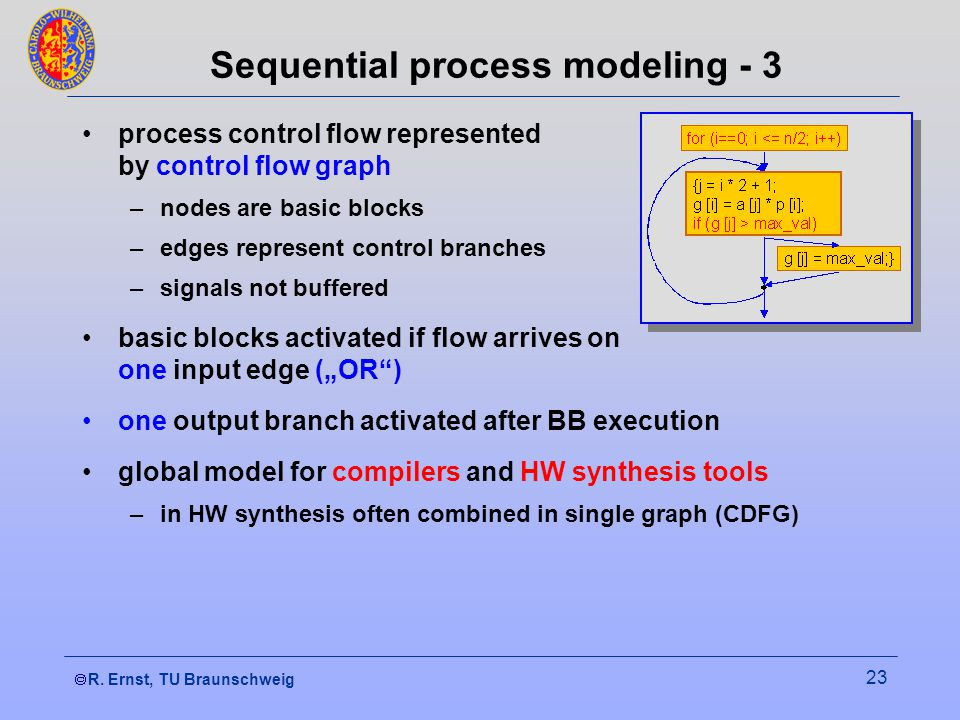 R. Ernst, TU Braunschweig 23 Sequential process modeling - 3 process control flow represented by control flow graph –nodes are basic blocks –edges rep