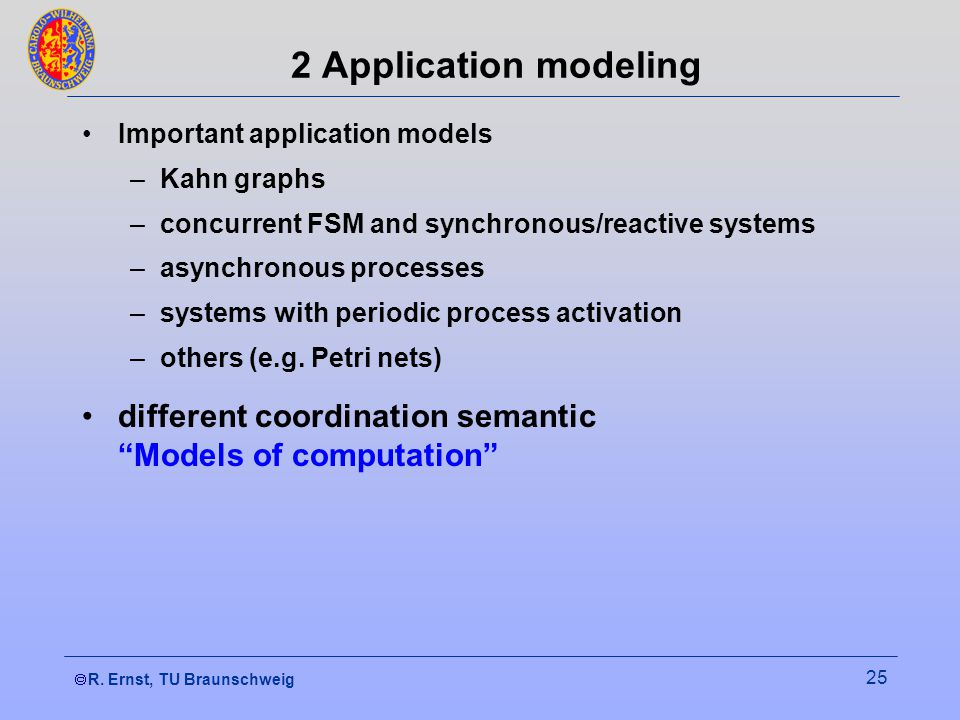 R. Ernst, TU Braunschweig 25 2 Application modeling Important application models –Kahn graphs –concurrent FSM and synchronous/reactive systems –asynch
