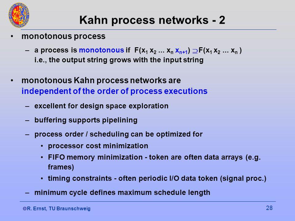 R. Ernst, TU Braunschweig 28 Kahn process networks - 2 monotonous process –a process is monotonous if F(x 1 x 2... x n x n+1 ) F(x 1 x 2... x n ) i.e.