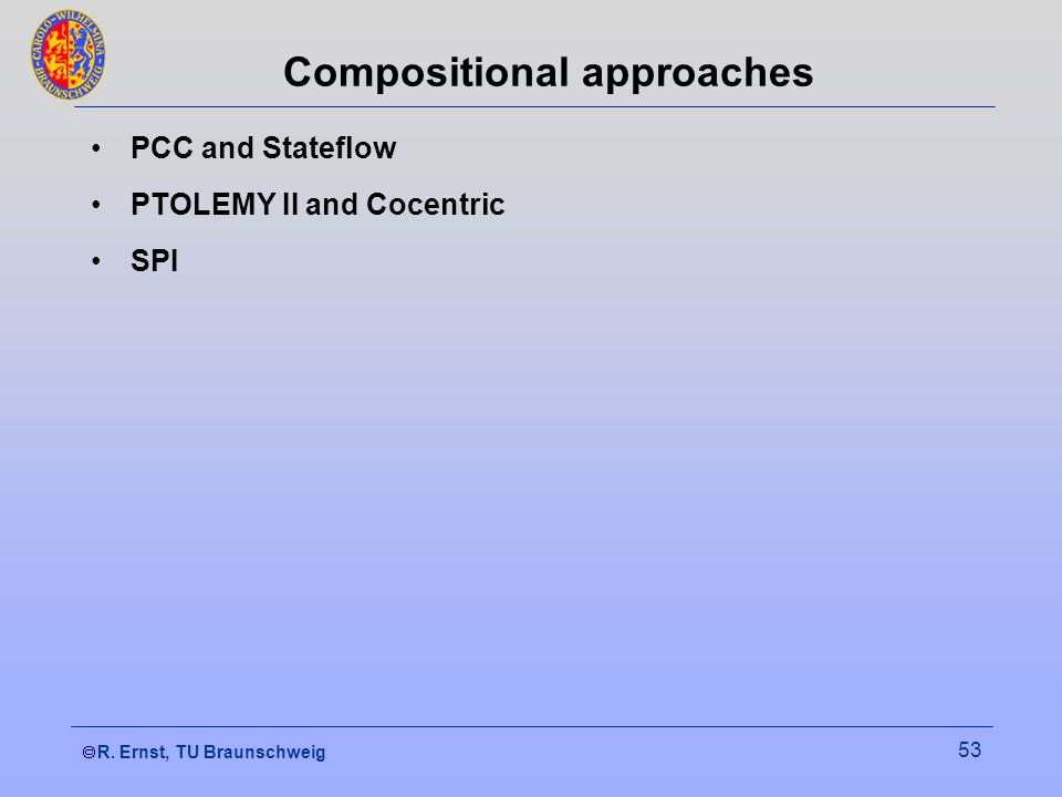 R. Ernst, TU Braunschweig 53 Compositional approaches PCC and Stateflow PTOLEMY II and Cocentric SPI