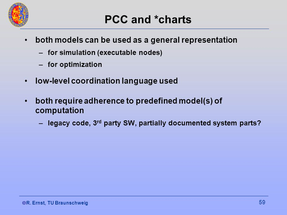 R. Ernst, TU Braunschweig 59 PCC and *charts both models can be used as a general representation –for simulation (executable nodes) –for optimization