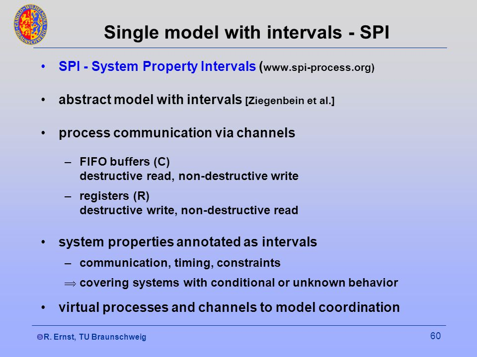 R. Ernst, TU Braunschweig 60 Single model with intervals - SPI SPI - System Property Intervals ( www.spi-process.org) abstract model with intervals [Z
